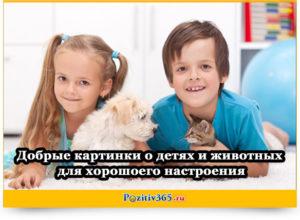 Добрые картинки о детях и животных для хорошего настроения
